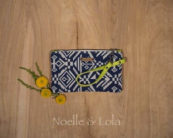 Navy and White Southwest Wristlet, Clutch, Wallet, Boho Purse, Indie Handbag, Birthday Gift for Her Wristlet by Noelle & Lola