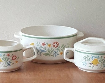 """Lenox Temper-Ware Quakertown 4 Piece Set:  7"""" Casserole and Sugar Bowl/Lid and Creamer Made in the USA"""