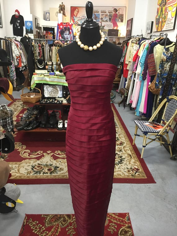 Caron Marc Valvo for Bergdorf Goodman Dark Red Satin Dress Sz 2
