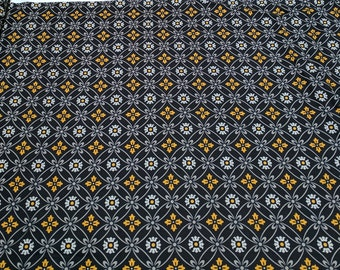 Midnight Poppies-Black and yellow Cotton Fabric designed by Cynthia Coulter for Wilmington Prints