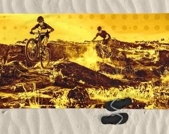 Beach Towel, Men beach towel, bike art, mountain bike art, Cycling Art, Beach Art, Men gift, Cycling Gift, Beach Gift, BMX bike, bicycle art
