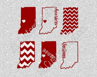 Indiana SVG, eps, DXF, png Cut Files for Silhouette, Cricut, Vectors, Digital Download, Indiana,Hoosiers, Football, College, University,