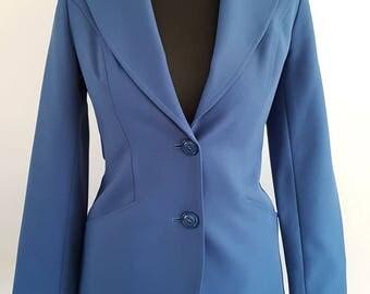 Vintage Ladies Fitted Jacket | Blue Blazer Jacket | UK Size 12