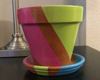 Summer Color-Block Flower Pot
