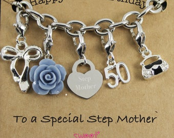 Happy 50th Birthday Rose Lucky Charm Bracelet Gift for Bestie, Sister, Niece, Mam, Special Friend.
