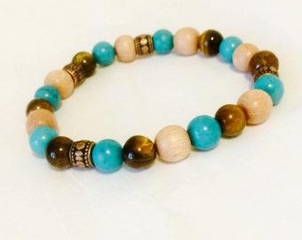 Natural wood and gemstone bracelet healing bracelet aromatherapy bracelet essential oil bracelet diffuser bracelet