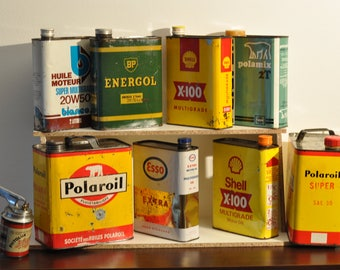 Old empty Motor oil can BP, Bianco, Polaroil for indus deco