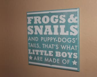 Blue painted Frogs and Snails hand painted canvas wall art hanging with White vinyl quote,boys room decor,vinyl decal,nursery decor
