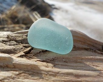 "Genuine Perfectly smoothed flawless Light Aqua blue Sea Glass piece-Size 0.9""-Jewelry quality-Pendant size Sea Glass#J537#"