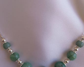 925 sterling silver and Emerald Necklace.
