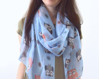 Owl Printed Scarf, Spring Summer Scarf, Bird Print Scarf, Fashion Woman Scarf, Gift for Her