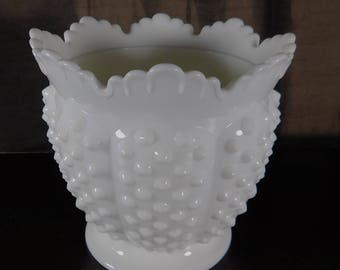 "Marked Fenton Milk Glass Planter / Vase 6"" Tall by 6"" Wide  White Hobnail Scalloped Edge Vintage Paneled Cottage Look Milkglass"