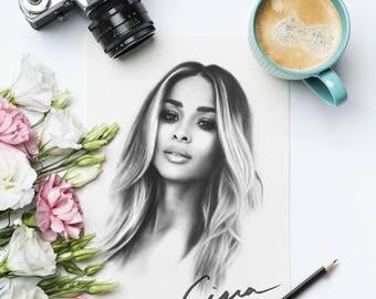 Ciara - Fashion Illustration - Celebrity Pencil Portrait Sketch -  Watercolor Paper Print Canvas Fine Art - Ciara Princess Harris - Singer