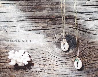 Moana, 14 Kgf Cowry Shell Necklace, Saussurite, 14 Kgf, Fresh Water Pearl, Amazonite, Sea Shell, Shell, Moana Shell [2313]