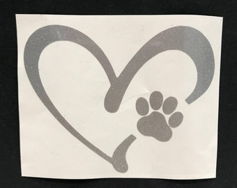 Heart Paw Decal, Dog Decal, Dog Paw Decal