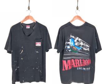 90s Marlboro Unlimited Pocket Promo T-Shirt. Beautifully Thrashed Vintage 90s Marlboro Cigarette Tobacco Train Locomotive Advertising Tee.