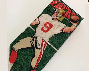 San Francisco 49ers Tie Vintage Steve Young Football Team NFL Red Gold Silk