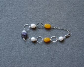 Multicolor Stone and Pearl Bracelet
