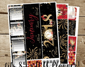 8.5x11 Monthly Kit: January 2018-- It's a New Year! (for use in 8.5x11 Erin Condren Planner)
