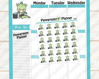 JJ Taking out the Trash --- Planner Stickers --- 639