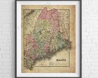 1855 Maine Map Print, Maine Art, Maine Gifts, Maine Map Art, Vintage Map, Antique Map, Old Maps, Maine Print, State Map, Maine Poster