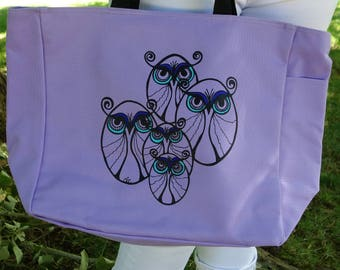 Owl Tote Bag, Beach Bag, School Tote, Book Bag, Owl Lovers, Creative Art Bag, Gift for Her, Teacher's Gift