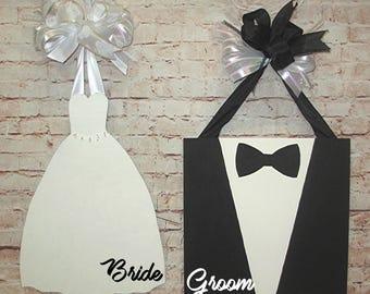 Bride and Groom Wedding Dress and Tuxedo Door Hanger Wreath Set, Wedding Decorations, Rehearsal, Bridal Shower