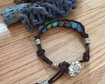 Leather beaded bracelet 6-10 inches adjustable