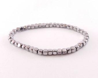 Hematite Bracelet, Cube Beads, 4mm Beads, Gemstone Beads Stretch Bracelet, Mens Beads Bracelet, Silver Color Hematite stone bracelet