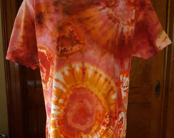 Adult Large Geode Ice Dye T-shirt in Oranges and Browns