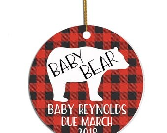 Baby Announcement Ornament, Pregnancy Announcement Ornament, Pregnancy Reveal, Baby Bear Ornament, Pregnancy Reveal to Husband, Expecting