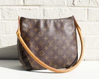 Authentic Louis Vuitton Monogram LOOPING MM Shoulder Bag Purse Handbag Satchel YO4012