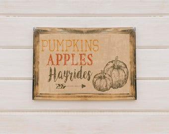 Pumpkins Apples Hayrides Fall Printable Wall Art Thanksgiving Decor Vintage Rustic Print