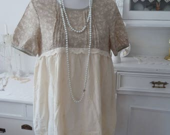 Dress tunic beige lace vintage Shabbychic Empire style beige lace lace dress embroidery Richelieustickerei taupe boho Millefleurs