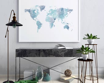 World map wall art etsy watercolor world map print world map watercolor world map poster world map wall art gumiabroncs Gallery