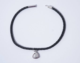Swarovski Crystal Charm on a Leather Bracelet, Black Leather Bracelet