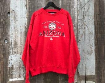 90s University of Arizona Sweatshirt | Mens U of A Sweatshirt | Univ of Arizona Sweatshirt | Arizona Red Sweatshirt | Mens Vintage Clothing
