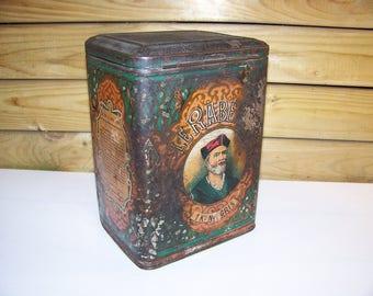 Box circa 1930s Le Rabelais spice decor François Rabelais 1900's - metal box 1900's
