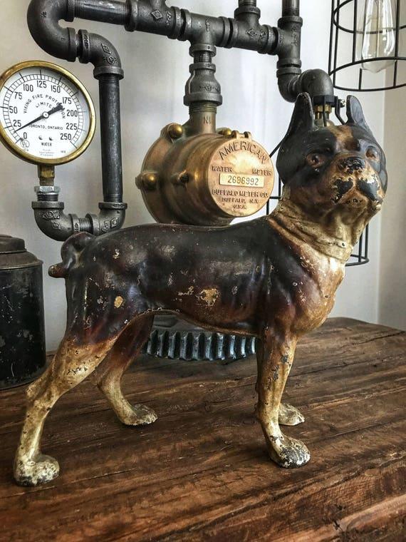 - C.1900 Antique Cast Iron Boston Terrier Doorstop