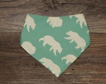 Bandana Bib | Bear | Bibdana | Woodland | Teething | Baby | Unisex | Drool Bib | Kenton Creations | Perfect Gift | Handmade in Canada