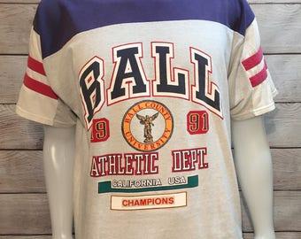 Rare Ball State Ball County University BSU Cardinals 1991 championship shirt