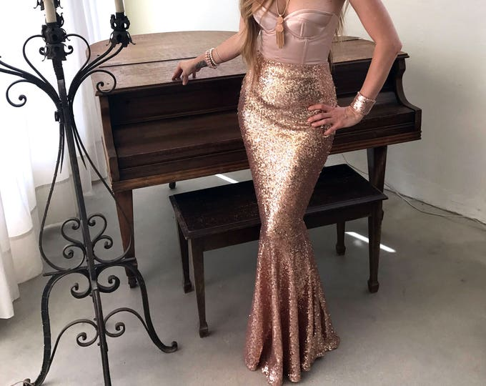 Featured listing image: High Waist Sexy Sequin Mermaid Skirt Costume - CLASSIC Mermaid Tail - Rose Gold