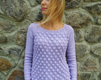 Hand knitted Cotton Sweater, READY TO SHIP, Seamless, Summer Sweater, Cotton Sweater, Hand Knit Sweater, Women's sweater, Knitting clothes