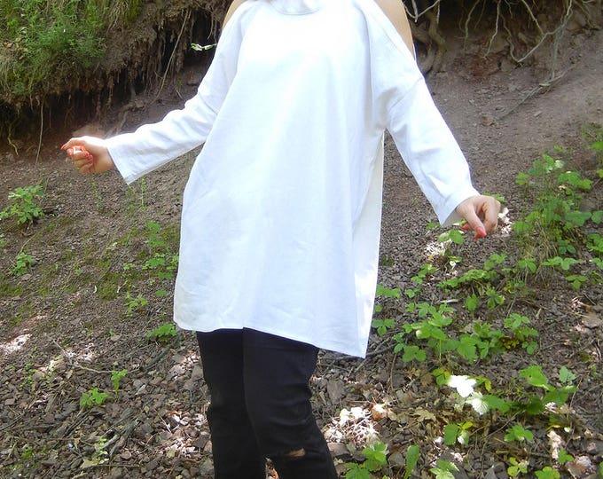 Off shoulder Linen White Dress Tunic, Summer Extravagant Oversized Shirt, Long Wide Dress Shirt, Halter Long Tunic, Baggy Beach Top