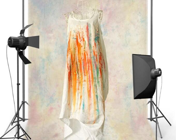 Hand Painted White Linen Dress   Abaya Dress   Maxi Long Dress   Asymmetric Summer Dress   Excentric Linen Dress   Caftan Dress