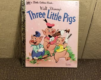 Walt Disney's Three Little Pigs 1970's Vintage Little Golden Book