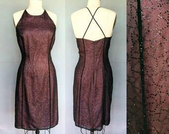 spiderwebs / 90s glitter sequin black sheer over pink cocktail dress / 10 medium