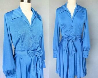 letterman / 1970s bright blue shirtwaist secretary dress / small