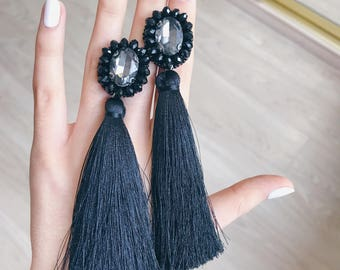 20%OFF Black tassels earrings