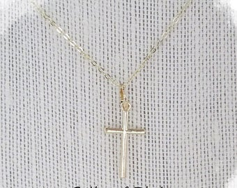18K Gold Plated Cross Necklace ~ Dainty Delicate Cross Pendant ~ Christian Jewelry ~ Gift for First Communion Confirmation Flower Girl